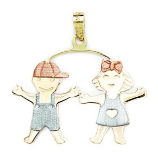 White and Rose Gold Boy And Girl Pendant  Measures 31x32mm  31 Inch