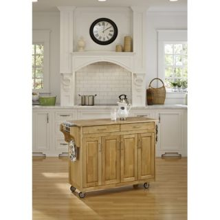 Crosley Stainless Steel Top Kitchen Cart/Island in Classic Cherry with