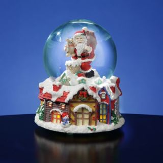 San Francisco Music Box Santa with Lighted Victorian Village Snow