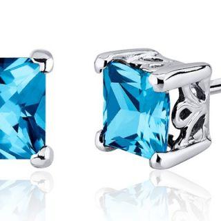 Oravo 2.50 Carats Swiss Blue Topaz Princess Cut Scroll Design Stud