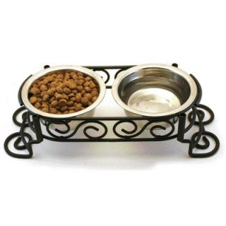 Ethical Pet Stainless Steel Scroll Work Double Diner   5849/50/51/52