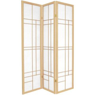 Oriental Furniture 72 Eudes Decorative Paned Room Divider in Natural