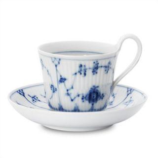 Royal Copenhagen Blue Fluted Plain 8.75 Oz Cup and Saucer
