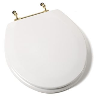 Deluxe Molded Round Wood Toilet Seat with Chrome Hinges in White Ri
