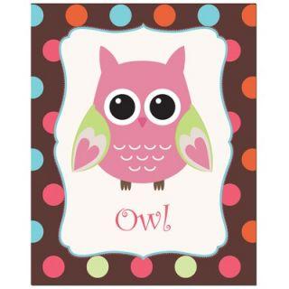 Secretly Designed Solid Color Owl with Polka Dot Back Ground Art Print