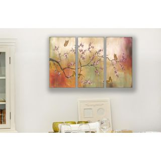 Industries Pink Blossoms and Butterflies Triptych Wall Art   twp 112