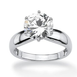 Palm Beach Jewelry Sterling Silver Round Cubic Zirconia Solitaire Ring