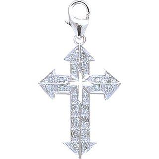 EZ Charms 14K White Gold Diamond Cross 4 Charm