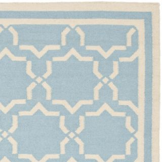 Safavieh Dhurries Light Blue/Ivory Rug