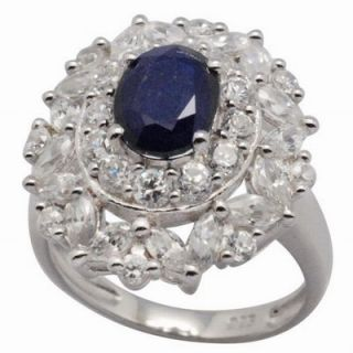 DeBuman Sterling Silver Oval Cut Sapphire and Cubic Zirconia Ring