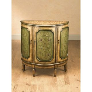 AA Importing Three Door Half Round Cabinet with Green Floral Pattern