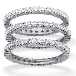 Palm Beach Jewelry Platinum/Silver Eternity Bands Set of 3