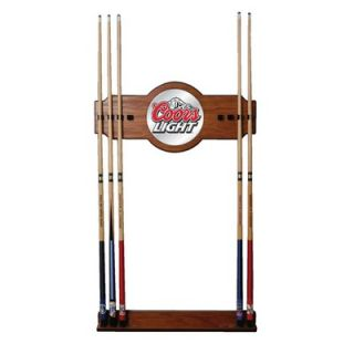 Trademark Global Coors Mirror Wall Cue Rack in Light Wood