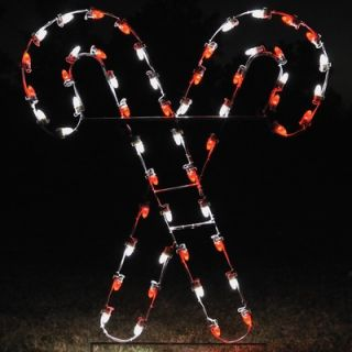 Holiday Lighting Specialists Crossed Candy Canes Light in Red / White