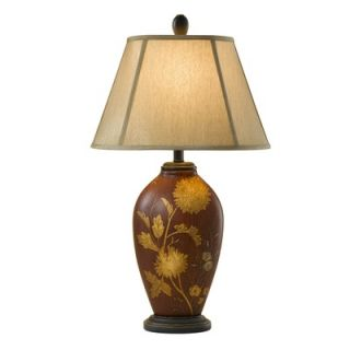 Feiss Hand Painted Porcelain One Light Table Lamp in Sienna Red Floral