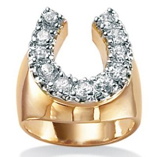 Palm Beach Jewelry 18k Gold/Silver Mens Cubic Zirconia Horseshoe Ring