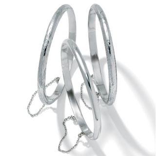 Palm Beach Jewelry Sterling Silver Bangle Bracelets Set of 3