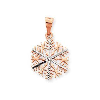 Jewelryweb 14k Rose gold and Rhodium Snowflake Pendant   QTP104314NC