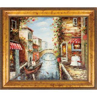 Hokku Designs Venice Gondola Hand Painted Oil Canvas Art with Frame