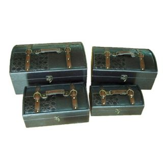 Quickway Imports Royal Leather Trunk, Designer Treasure Chest