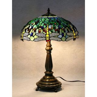 Warehouse of Tiffany Stained Glass Blue Dragonfly Table Lamp