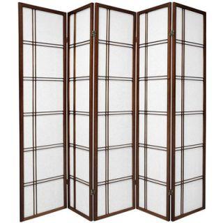 Oriental Furniture Double Cross Shoji Screen in Walnut   SSCDBLX