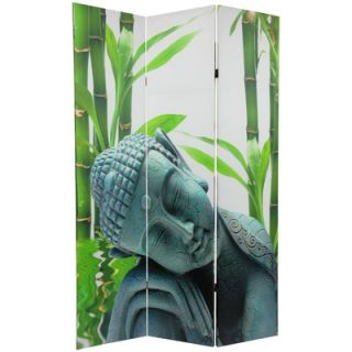 Oriental Furniture Double Sided Serenity Buddha 3 Panel Room Divider
