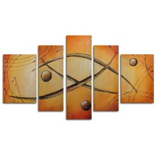 My Art Outlet Hand Painted Orbs Jump Rope 5 Piece Canvas Art Set