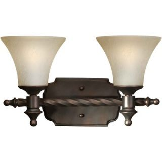 Forte Lighting Two Light Vanity Light with Umber Mist Glass Shade in