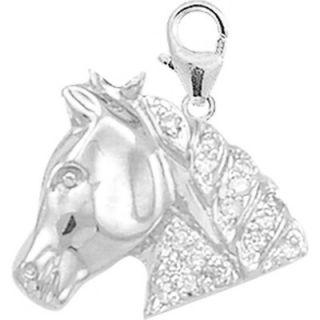 EZ Charms 14K White Gold Diamond Horsehead Charm