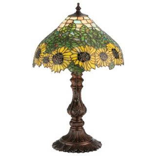 Meyda Tiffany Floral Art Glass Country Wild Sunflower Accent Lamp