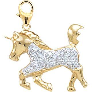 EZ Charms 14K White Gold Diamond Unicorn Charm