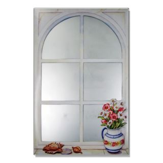 Stupell Industries Faux Window Mirror Screen with Daisies and Shells