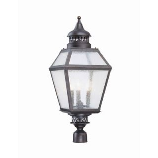 Savoy House Chimnea Three Light Outdoor Post Lantern in English Bronze