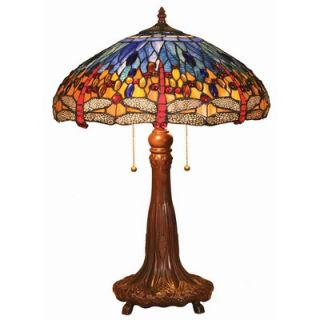 Chloe Lighting Tiffany Style Dragonfly Table Lamp with Blue Shade