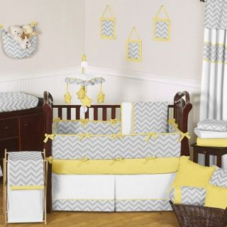 Sweet Jojo Designs Yellow and Gray Zig Zag Crib Bedding Collection