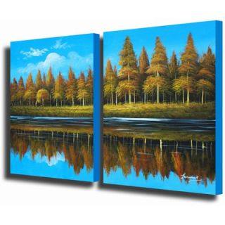 White Walls 2 Piece Country Lake Canvas Art Set