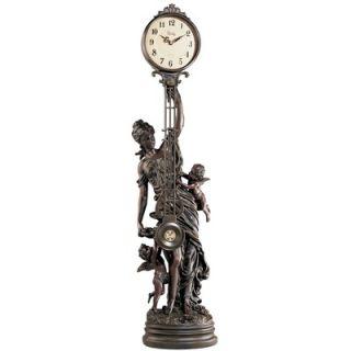 Design Toscano Grand Scale Flora Sculptural Swinging Pendulum Clock in