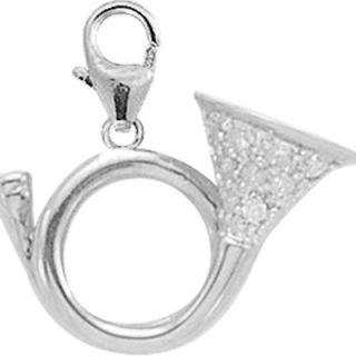 EZ Charms 14K White Gold Diamond French Horn Charm