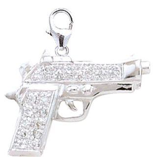 EZ Charms 14K White Gold Diamond Gun Charm