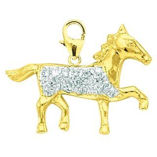 EZ Charms 14K 1.15 Grams Yellow Gold Diamond Horse Charm