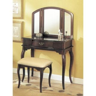 Williams Import Co. 3 Piece Vanity Set with Trifold Mirror in Espresso