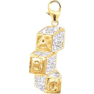 EZ Charms 14K Yellow Gold Diamond Baby Blocks Charm