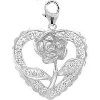 EZ Charms 14K White Gold Diamond Rose in Heart Charm