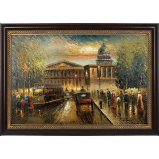 Hokku Designs Reminiscing Paris Hand Painted Oil Canvas Art with Frame