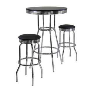 Winsome Summit 3 Piece Pub Table with Swivel Stool in Black