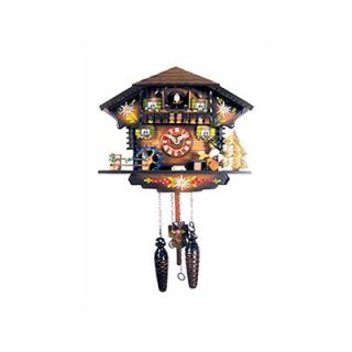 Black Forest Chalet Clock with Beer Drinker and Water Wheel