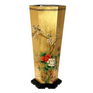 Oriental Furniture Umbrella Stand in Gold Leaf   LCQ UMB GPB