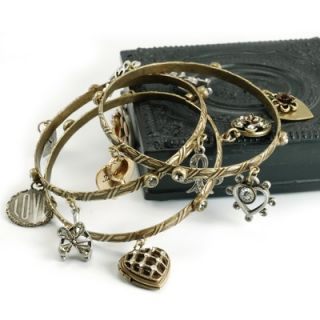 Sweet Romance Remember Love Charm Bangle Bracelet Set   SR_BR240 SET
