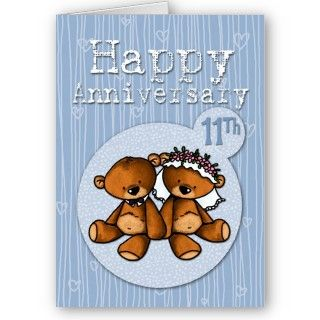 happy anniversary bears   11 year greeting cards